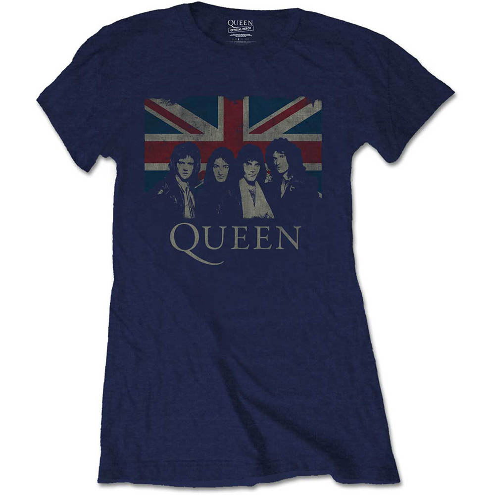 Queen - Vintage Union Jack (Ladies) (Navy Blue)