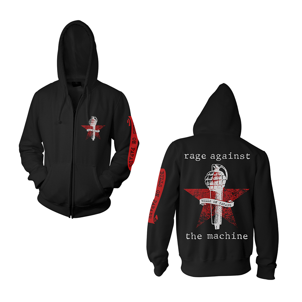 Rage Against The Machine - Bulls On Parade Mic (Black Zip Hoodie)