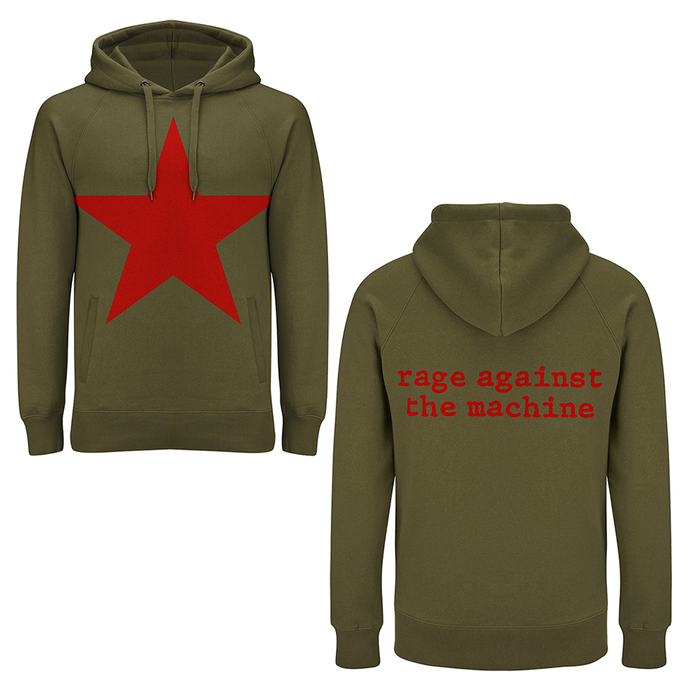 Rage Against The Machine - Red Star (Olive Green Hoodie)