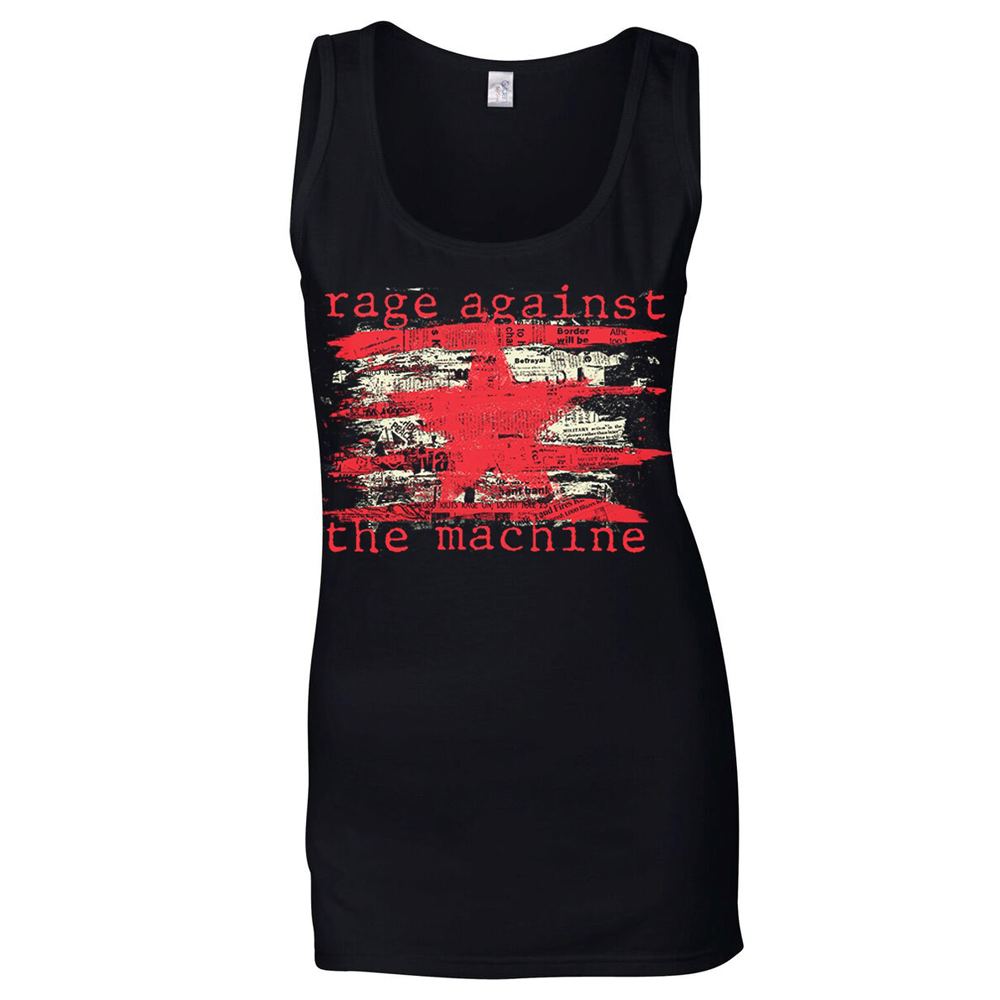 Rage Against The Machine - Newspaper Star (Black Ladies Vest)
