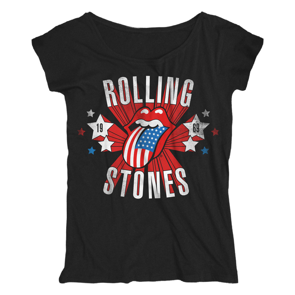 Rolling Stones - Star Spangled Tongue (Women's) (Black)