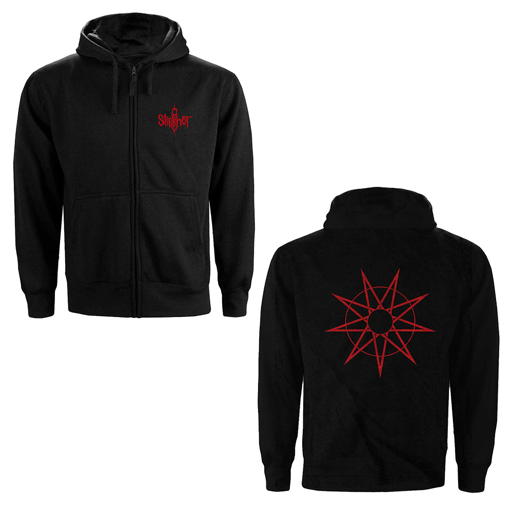 Slipknot - 9 Point Star (Back Print) (Ladies Zip Hoodie)