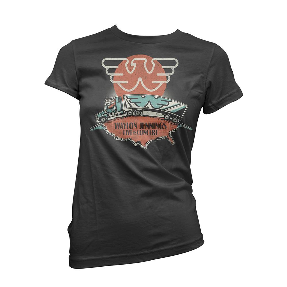 Waylon Jennings - Live (Women's) (Black)