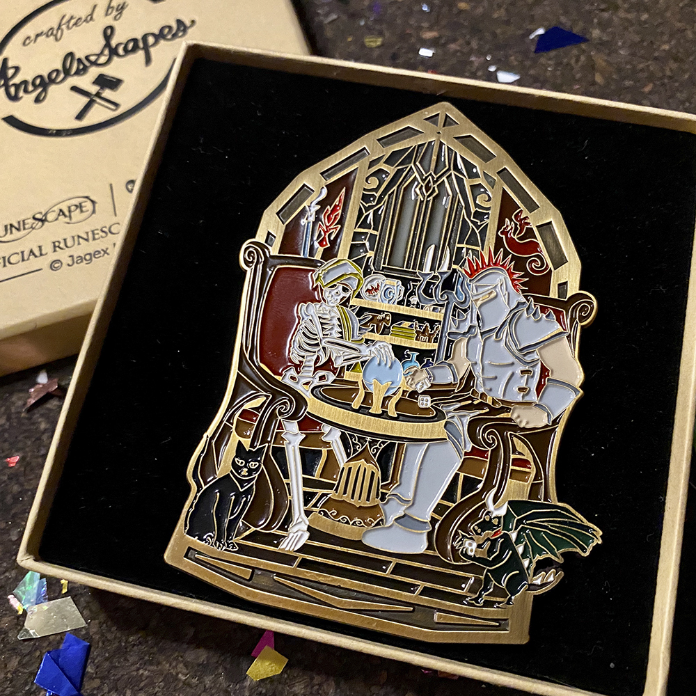 Angels Scapes - Tim & Crunchy Stained Glass Pin