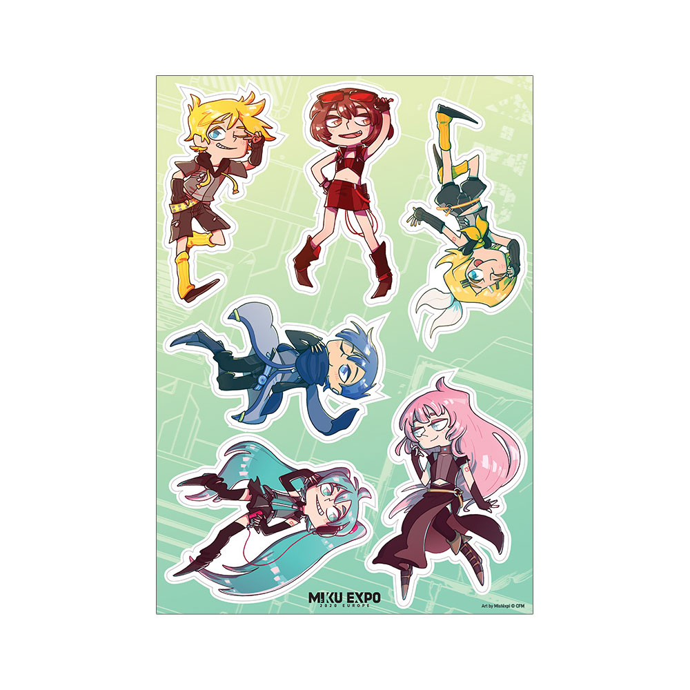 Hatsune Miku - Chibi Cyber Group Stickersheet