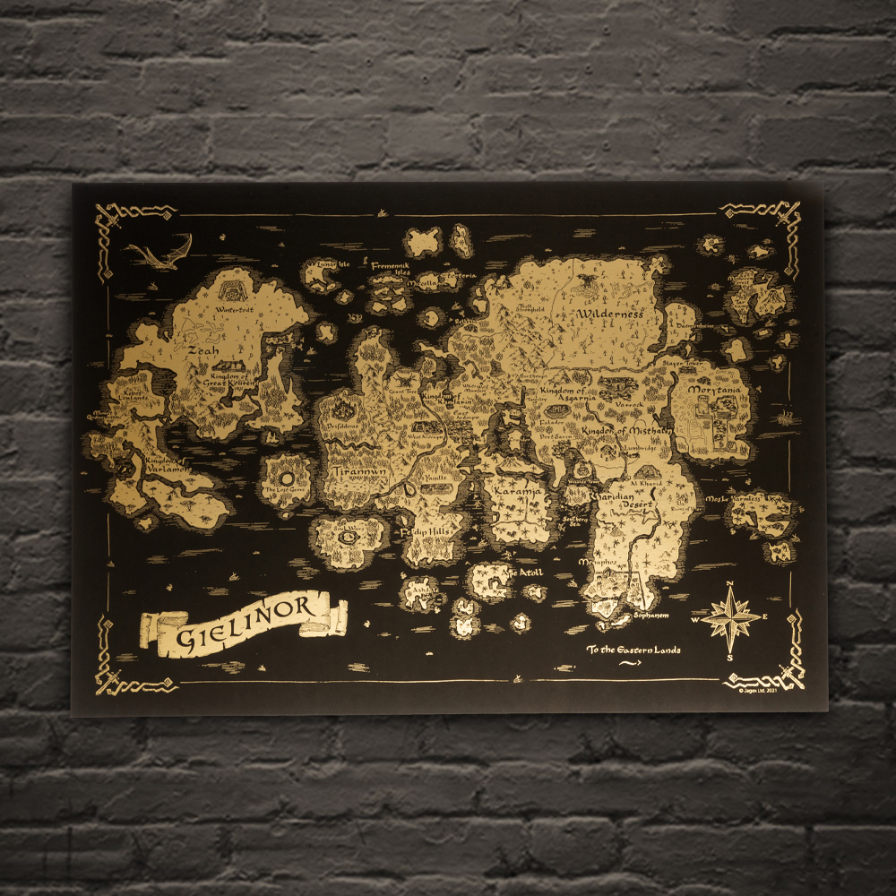 RuneScape - Gold Map Of Gielinor Print
