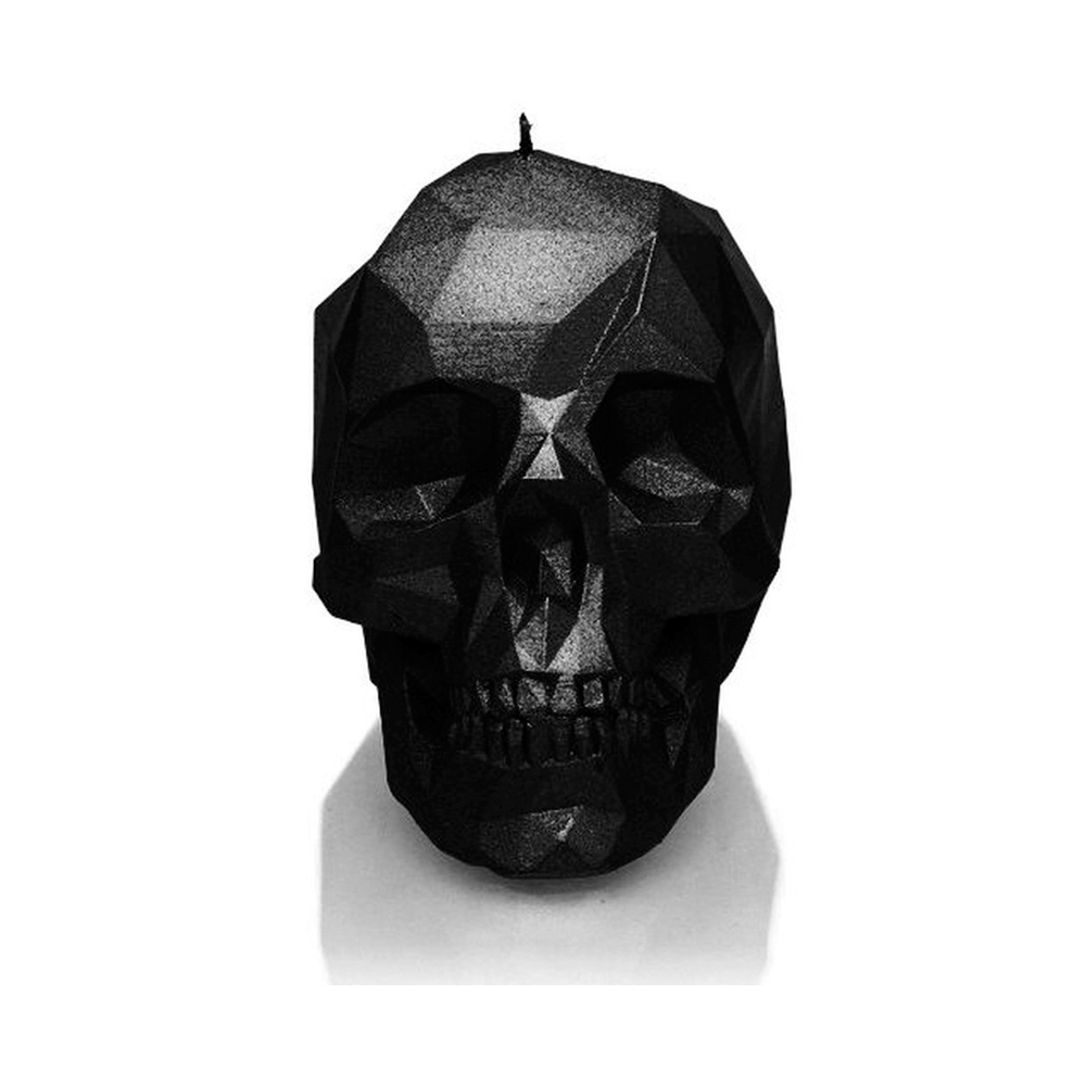 Rock and Metal Candles - Large Low Poly Skull - Black Metallic Candle