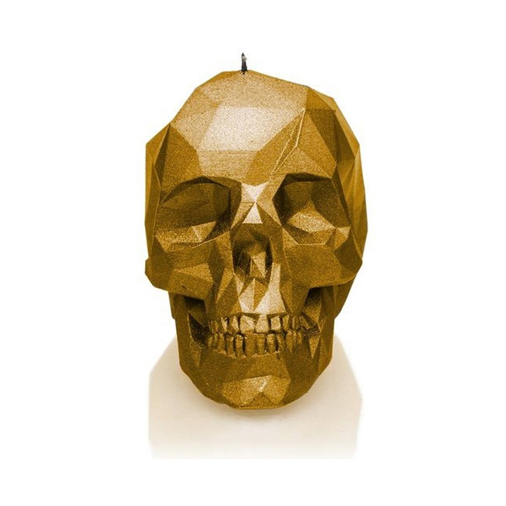Rock and Metal Candles - Large Low Poly Skull - Gold Candle