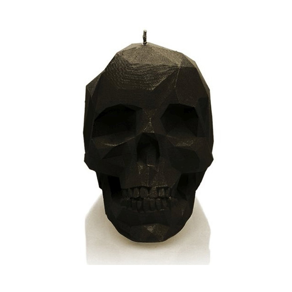 Rock and Metal Candles - Large Low Poly Skull - Black Candle
