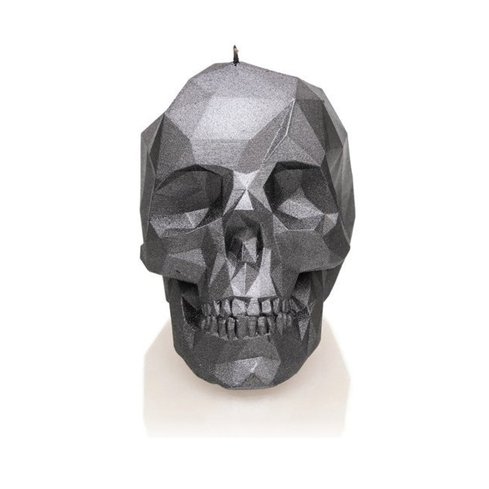 Rock and Metal Candles - Large Low Poly Skull - Steel Candle